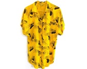 80s 90s ABSTRACT Print Black and Yellow Button Up Shirt Top