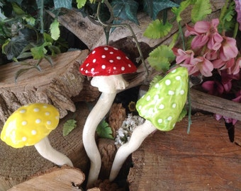 Ceramic Mushroom Stakes  3  Hand sculpt ceramic Pottery shrooms Red Yellow green Polka dot Glazed OOAK handmade Toadstools