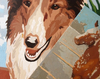 Vintage Paint By Numbers, Lassie PBN, Collie Painting, Foal Paint By Numbers, Horse and Dog Paintings, Cottage Chic, Foal and Collie PBNs