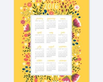Floral Wall Calendar AZ114