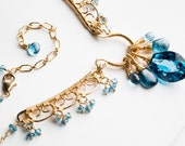 Reserved for Eileen - Dalia Necklace: Huge, Flawless London Blue Topaz, Intricate Gold Filigree, Royal Blue, Teal, Bib, Royal Kyanite