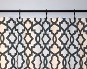 Window Valance Curtain -Shadow Black Sheffield - Charcoal White -  50x16 inches or 50x18 inches - Valence