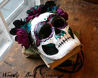 Dia Los Muertos - Day of the Dead Mask - Plum and Teal
