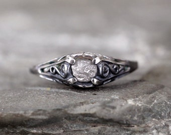 Antique Style Rough Diamond Engagement Ring - Raw Uncut Rough Diamond Gemstone and Dark Sterling Silver Filigree Ring  - April Birthstone