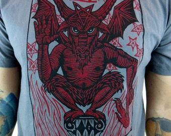 Clearance-- El Diablo Tarot Card men's tshirt