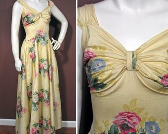 1940s Vintage Yellow Cotton Floral Rose Print Evening Dress SZ XS