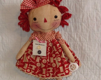 Primitive Raggedy Cloth Doll Pattern, Craft Raggedy Doll Pattern, sewing doll, HFTH215