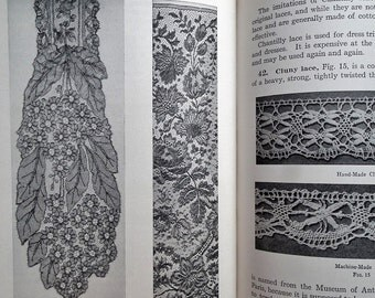 Vintage 20s Book Textiles - Sewing Materials Woman's Institute of Domestic Arts & Sciences 1926 - identification of lace - needlework book