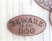Beware of Dog Sign, Cast Iron Sign, Large Dog Sign, Wall Sign, Gray Room, Garden Sign, Beware of the Dogs, Pet Lovers Gift