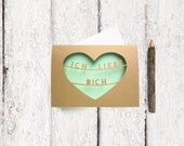 Ich Liebe Dich Card - German Valentine Card - Mint Green Valentine - I Love You Valentine Card - Valentine Card Him - Natural Kraft Heart