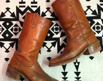 Vintage Cowboy Boots Mens Cowboy Boots Size 10 D Brown Leather Cowboy Boots Soft Distressed Brown Southwestern Boots Dingo Brand Shoes