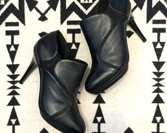 Vintage Booties Black Booties High Heel Booties Chelsea Boots Nicole Miller Shoes Leather Boots Womens Boots Size 9.5 Black Leather Boots