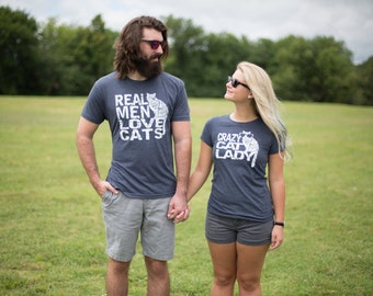 His and hers, Couples gift set, cats, best friend gift, Tshirt set, funny tshirts, matching, boyfriend, Real Men Love Cats, couples shirts