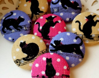 LIMITED SETS - Musical Black Cat Buttons - Music Note Kitty Large Fabric Buttons - Covered Buttons - Bright Colors Kitschy Kitty Buttons