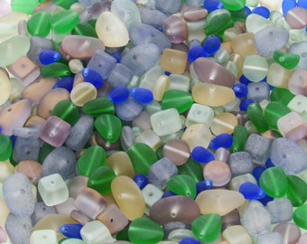 17mm to 6mm Seaglass Mix Different Shapes and Sizes Czech Glass Beads 30 Grams (AS54)