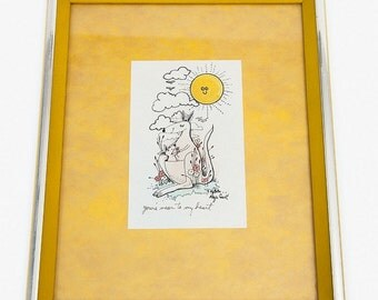 Vintage Kangaroo Watercolor Art with Yellow and Silver Frame