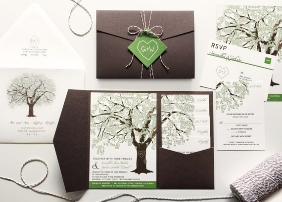 Grandfather Oak Tree Wedding Invitations, Rustic Wedding Invitation Set, Summer Wedding Invites, Cheap Shower Pocketfold Suite Spring, RSVP