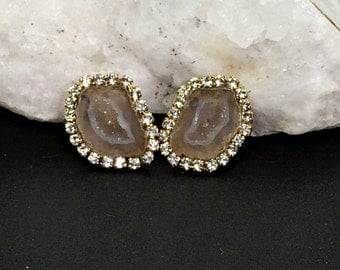Baby Geode Stud, Tabasco Geode Slice Earrings Golden Beige Geode Druzy Diamond Bezel Look Post Earring Gem Slice Stud Raw Gemstone - Harper