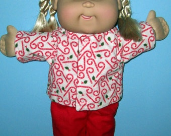 Cabbage Patch Kids  Doll Clothes Christmas Candy Cane Pajama Set  16 Inch Doll Clothes Vintage Classic Boy or Girl Doll