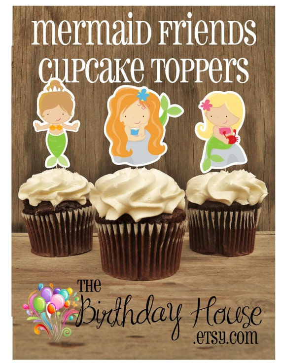 Mermaid Party - Set of 12 Assorted Mermaid Cupcake Toppers by The Birthday House