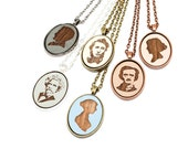 Custom Author Pendant - Literature Lover Gift - Oval Pendant Featuring Famous Writer's Portraits Laser Etched in Wooden Cameo