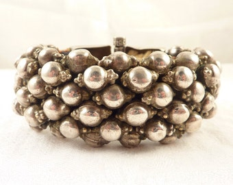 Antique India Silver Bead Large Woven Tribal Bracelet