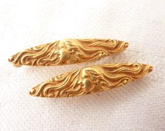 Antique Art Nouveau 14K Gold Repousse Maiden Pair of Lingerie Pins