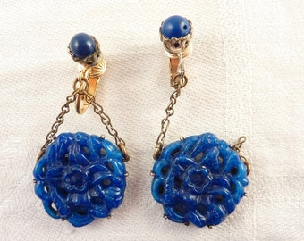Vintage Miriam Haskell Asian Carved Lapis Art Glass Dangle Designer Silvertone Clip On Earrings