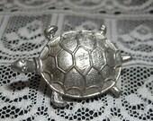 Vintage Christina Pewter Realistic Turtle Button
