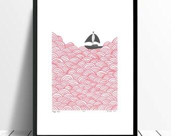 "Fine Art Print ""Bigger Boat"" (Rose Quartz and Grey) A3 size - FREE Worldwide Shipping"