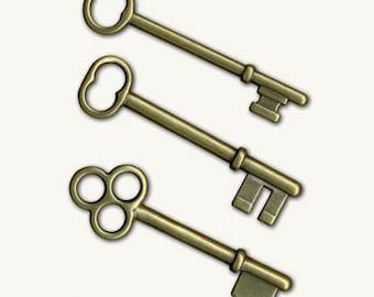 7 Gypsies: Set of 3 Antique Gold Keys