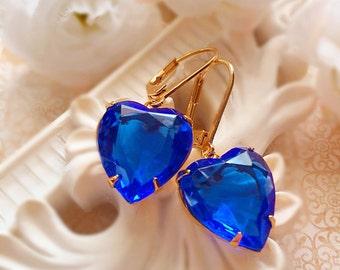 Best Gift for Wife - Sapphire Earrings - Victorian Earrings - Heart Earrings - Ready to Ship - HEARTSONG Sapphire