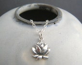 small lotus flower necklace. realistic flower charm. sterling zen yoga yogi jewelry simple layering petite delicate dainty pendant