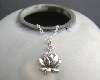 """small lotus flower necklace. realistic flower charm. sterling zen yoga yogi jewelry simple layering petite delicate tiny dainty pendant 3/8"""""""