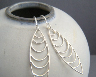 sterling silver wire filigree earrings. scale drop small simple geometric jewelry intricate modern contemporary unique gift her women 1 3/8""