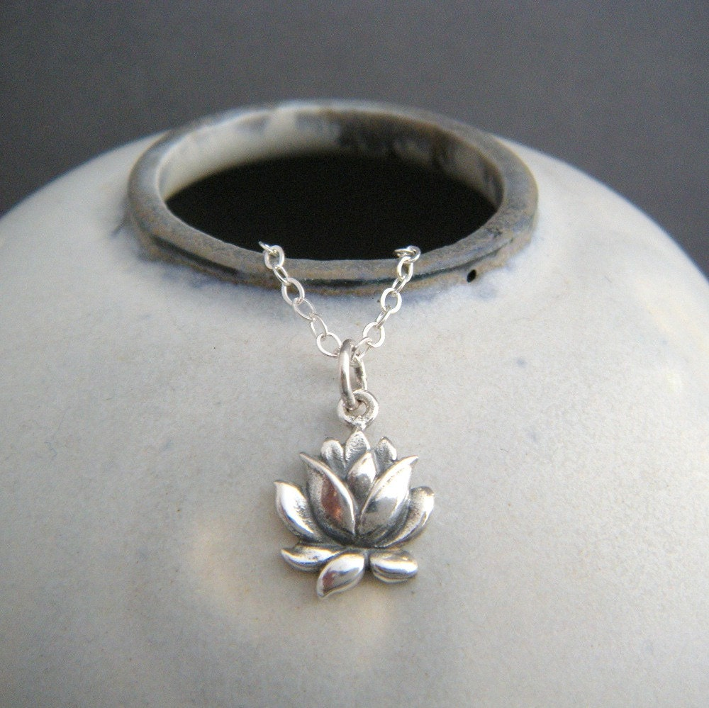 Small lotus flower necklace realistic flower charm sterling for Gemsprouts tiny plant jewelry