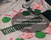 Bathroom Crochet Towel Crochet -PDF Booklet- Assorted Crochet Patterns Dates 50's #CR144 Mailed Copy Available-Pdf Instant Download-