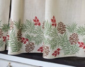 Christmas Pine Boughs linen cafe curtains holiday home decor winter natural history hand block printed window treatment