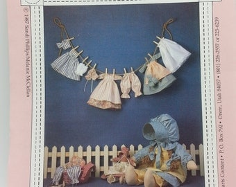 "Heart Content Laundry Days Pattern for 23"" Doll with Cloths and 11""inch Doll with Clothing Pattern (c) 1987 Sandi Phillips Melanie McClellan"