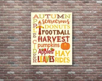Autumn Art, Autumn Typography, Autumn Decor, Fall Wall Art, Fall Decor, Autumn Wall Decor, Autumn Printable, INSTANT DOWNLOAD, Seasonal Art