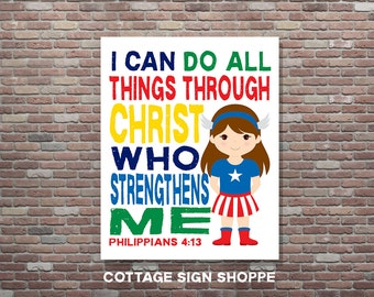 Philippians 4:13,I Can Do All Things,Girls Superhero Scripture Art,Bible Verse,INSTANT DOWNLOAD,Christian Wall Decor, Christian Wall Art