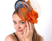 Fascinator - Orange Blue Fascinator Hat Netting Flower Wedding Hat OMBRE ORANGE FLASH