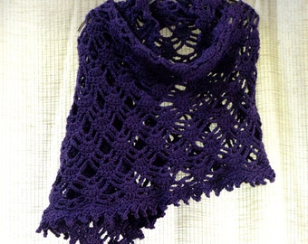 Purple Shawl Rectangle Lacy Oblong Crochet Cover Up Wrap Web Design Soft