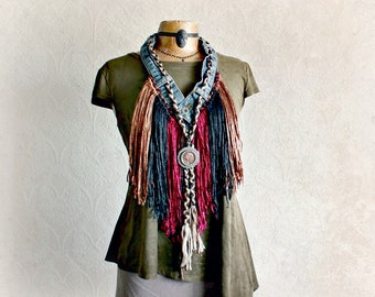 Funky Tribal Scarf Country Western Fringed Necklace Boho Clothing Women Upcycled Eco Jewelry Bohemian Gypsy Stevie Nicks Scarf 'SERAPHINA'
