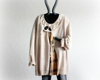 Plus Size Sweater Women's Casual Top Boyfriend Clothes Beige Upcycled Shirt Oversize Linen Top Rustic Clothing Cozy Roomy Jumper 2X 'MANDY'