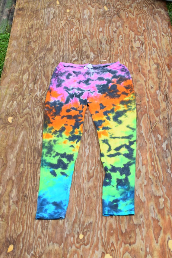 Hot Rainbow Scrunch on Black Leggings (Dharma Trading Co. Deluxe Cotton Leggings with Spandex Size S) (One of a Kind)
