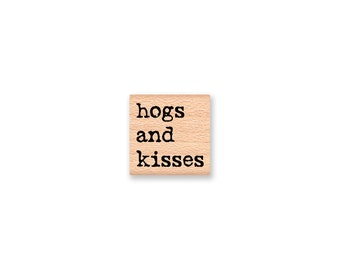 HOGS AND KISSES~Rubber Stamp~Hugs and Kisses~Funny Pig Stamp~Wood Mounted Stamp by Mountainside Crafts(55-20)