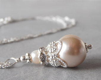 Beige Pearl Necklace, Bridal Necklace, Beaded Pendant Necklace, Simple Pearl Wedding Jewelry, Sterling Silver Chain, Beige Brides Jewelry