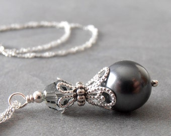 Dark Gray Pearl Bridesmaid Necklaces Swarovski Crystallized Elements Charcoal Pearl Wedding Jewelry Sets  Beaded Necklace Bridesmaid Gift