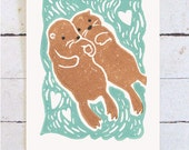 Otters Holding Hands Hand Printed Card - Wedding, Engagement, or Save the Date